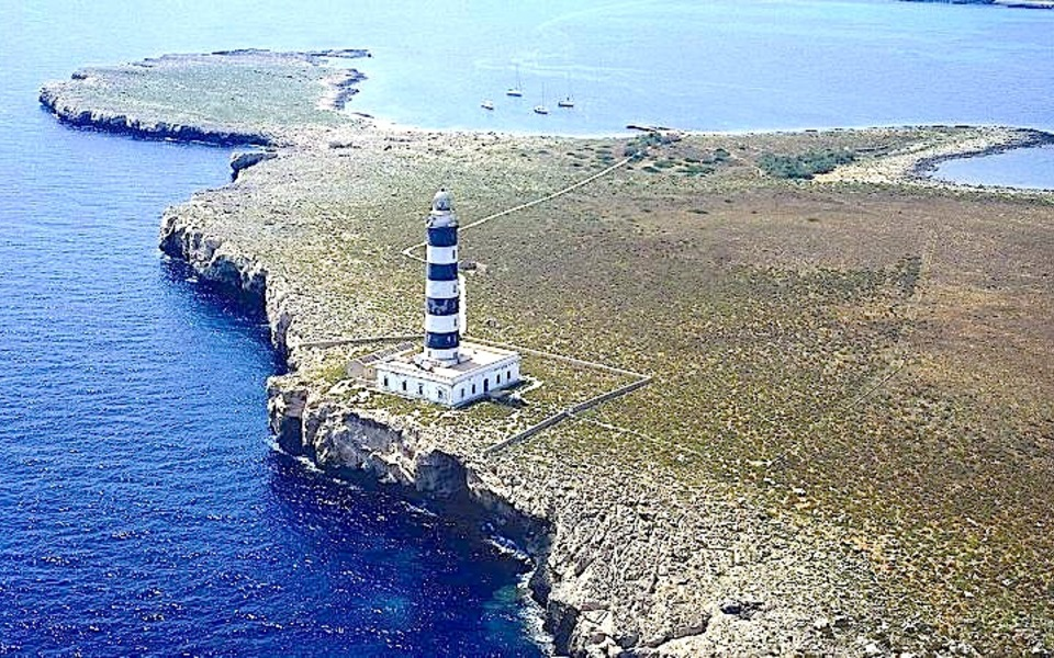 Aerial view Isla del Aire lighthouse