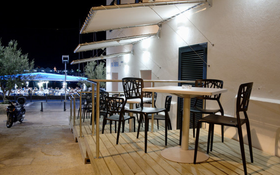 Outdoor seating overlooking the sea
